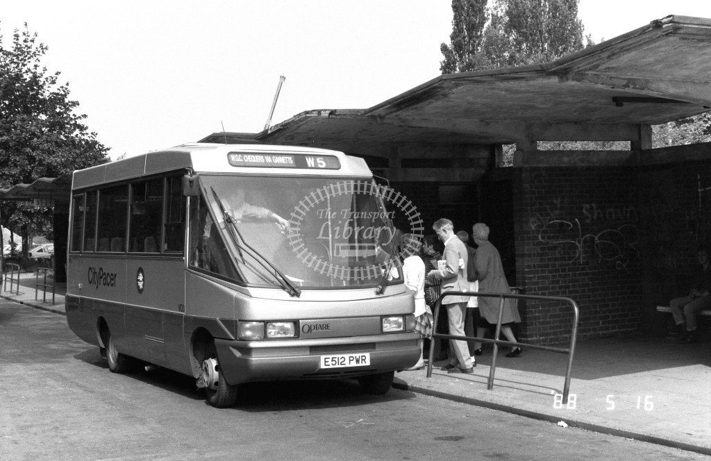 Welwyn Hatfield Line Volkswagen Optare VO3 E512PWR  at Welwyn Garden City , Bus Station  in 1988 on route  W5  - Russell Fell
