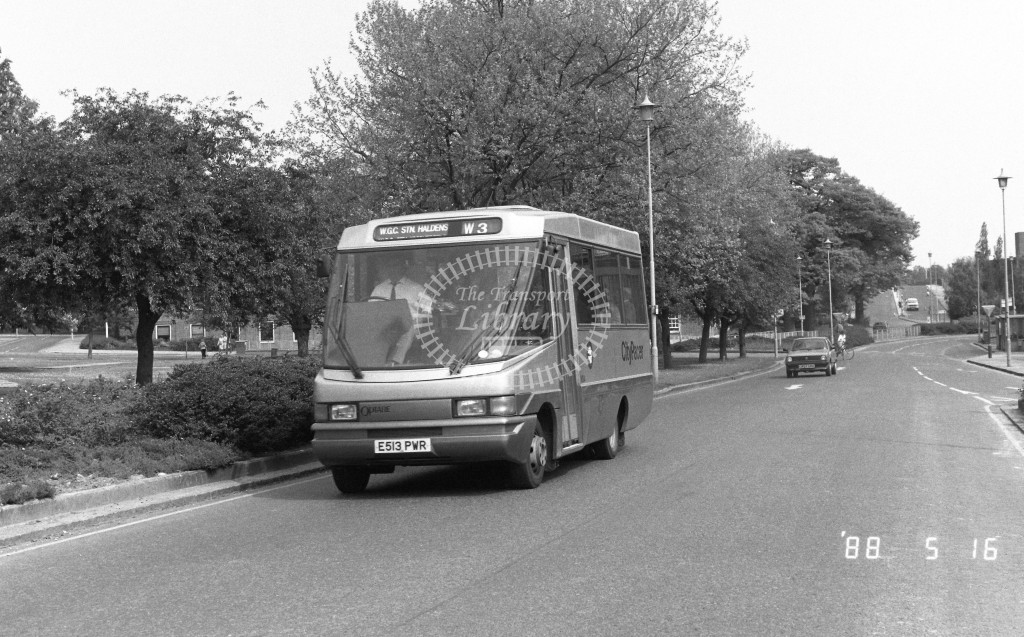Welwyn Hatfield Line Volkswagen Optare VO4 E513PWR  at Welwyn Garden City , The Campus  in 1988 on route  W3  - Russell Fell