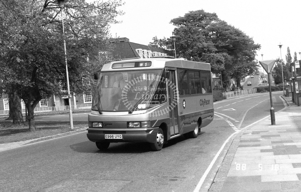 Welwyn Hatfield Line Volkswagen Optare VO14 E998UYG  at Welwyn Garden City , The Campus  in 1988 on route  W1  - Russell Fell