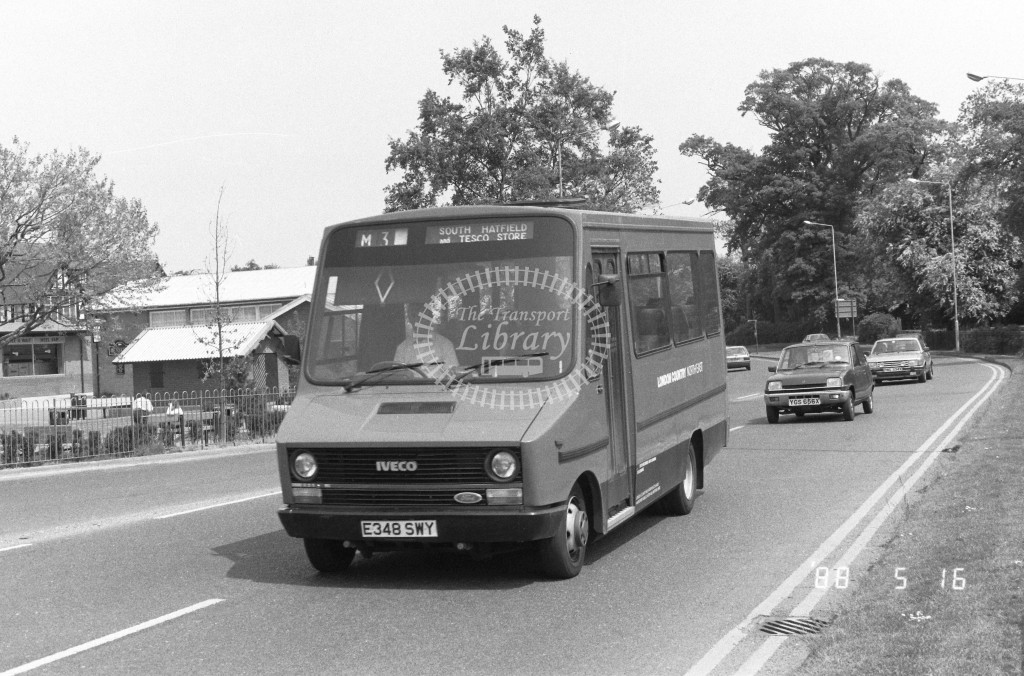 London Country North East Iveco MB48 E348SWY  at Hatfield , Cherry Tree  in 1988 on route  M3  - Russell Fell
