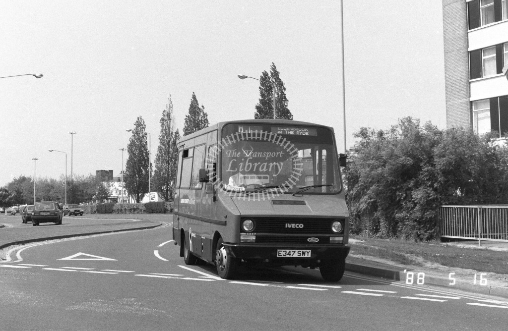 London Country North East Iveco MB47 E347SWY  at Hatfield , Cherry Tree  in 1988 on route  M1  - Russell Fell