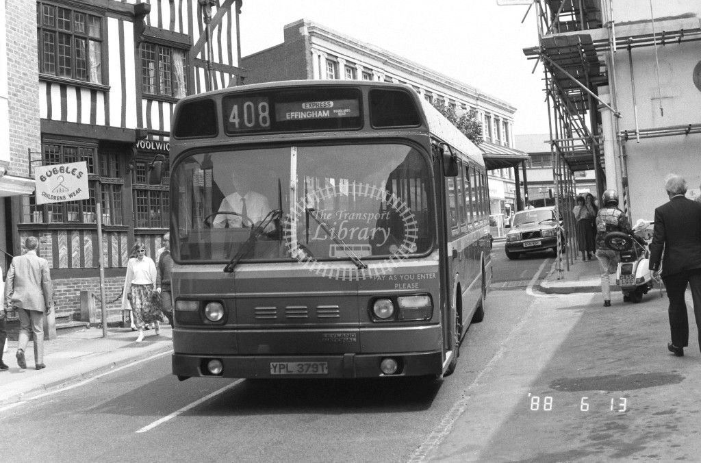 London Country South West Leyland National SNB379 YPL379T  at Leatherhead , Bridge St  in 1988 on route  408Ex  - Russell Fell