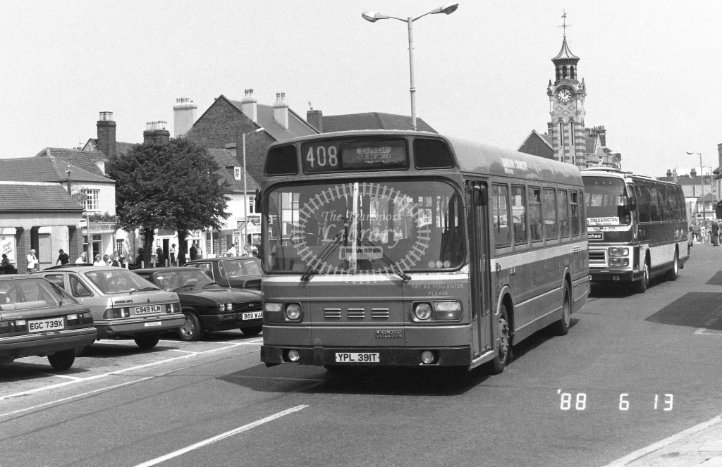 London Country South West Leyland National SNB391 YPL391T  at Epsom , High Street  in 1988 on route  408Ex  - Russell Fell