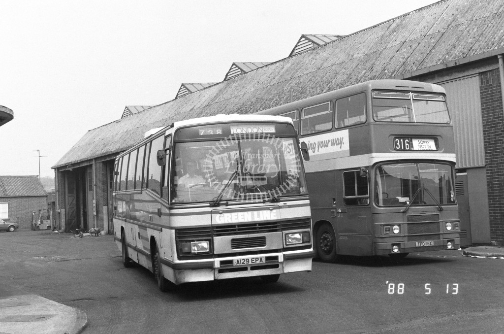 London Country North East Leyland Tiger TP29 A129EPA  at Hertford , LCBS Gararge  in 1988 on route  738  - Russell Fell