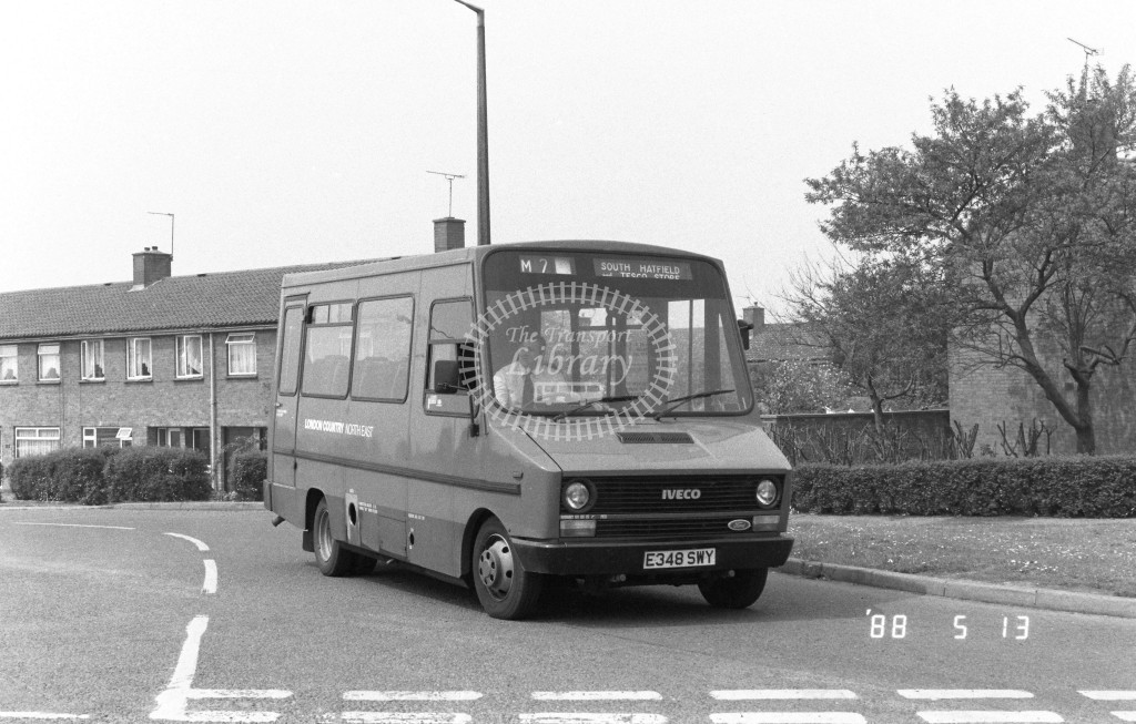 London Country North East Iveco MB48 E348SWY  at Hatfield , Cherry Tree  in 1988 on route  M2  - Russell Fell