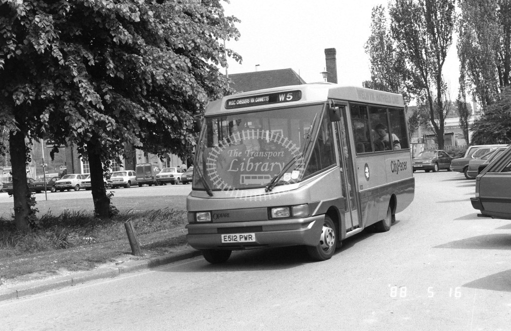 Welwyn Hatfield Line Volkswagen Optare VO3 E512PWR  at Welwyn Garden City , Station  in 1988 on route  W5  - Russell Fell