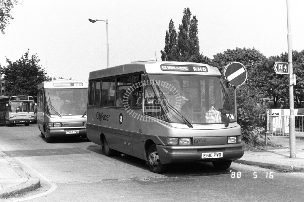 Welwyn Hatfield Line Volkswagen Optare VO6 E515PWR  at Welwyn Garden City , Bus Station  in 1988 on route  WH6  - Russell Fell