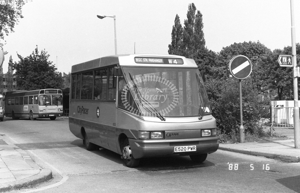 Welwyn Hatfield Line Volkswagen Optare VO11 E520PWR  at Welwyn Garden City , Bus Station  in 1988 on route  W4  - Russell Fell