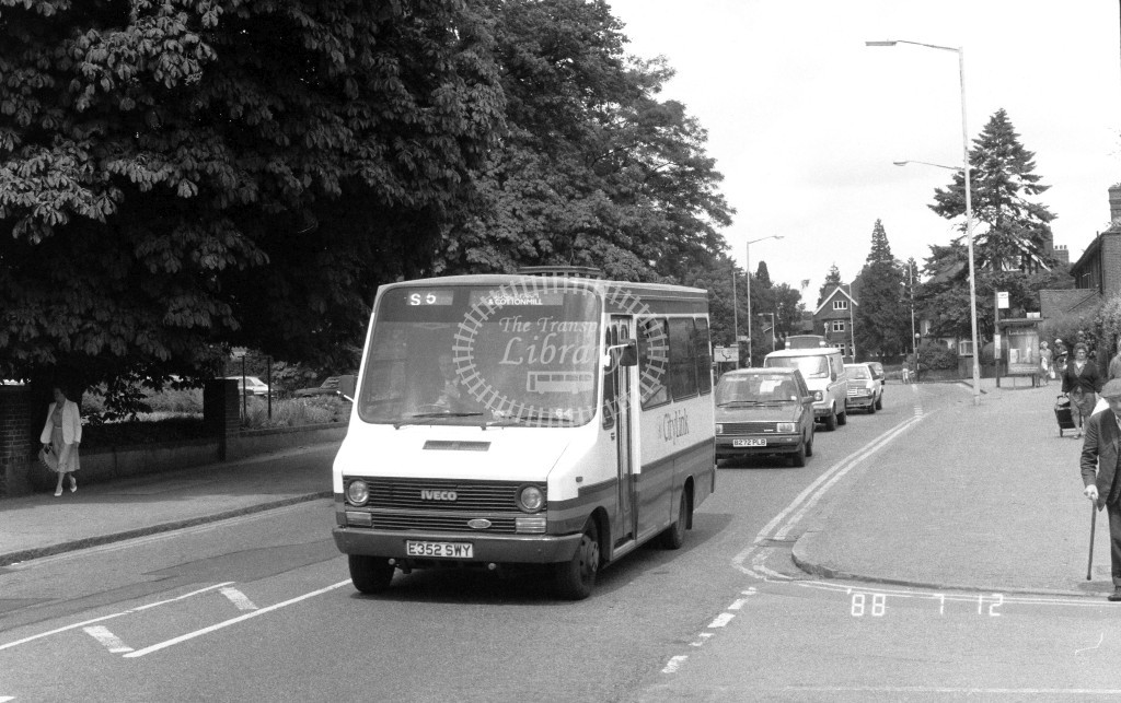 London Country North East Iveco MB52 E352SWY  at St Albans , St Peter's St.  in 1988 on route  S6  - Russell Fell