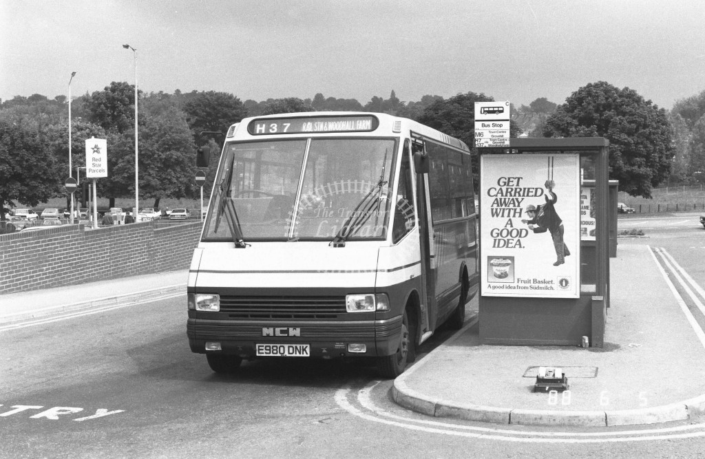 London Country North West MCW Metrorider MCW10 E980DNK  at Hemel Hempstead , Station  in 1988 on route  H37  - Russell Fell