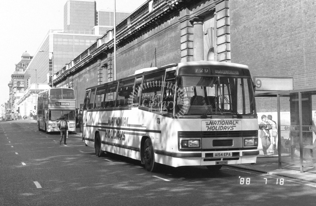 Kentish Bus Leyland Tiger TPL54 A154EPA  at Victoria , Buck. Pal, Rd,  in 1988 on route  720  - Russell Fell