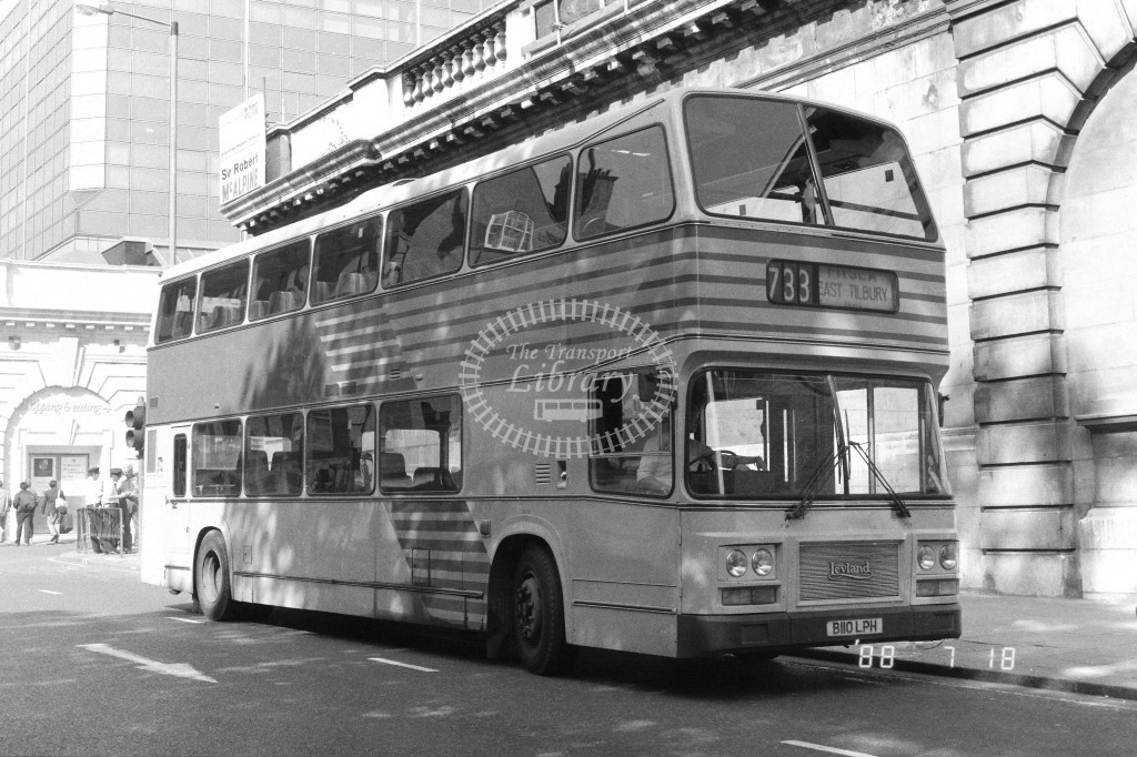 London Country North East Leyland Olympian LRC10 B110LPH  at Victoria , Buck. Pal, Rd,  in 1988 on route  733  - Russell Fell