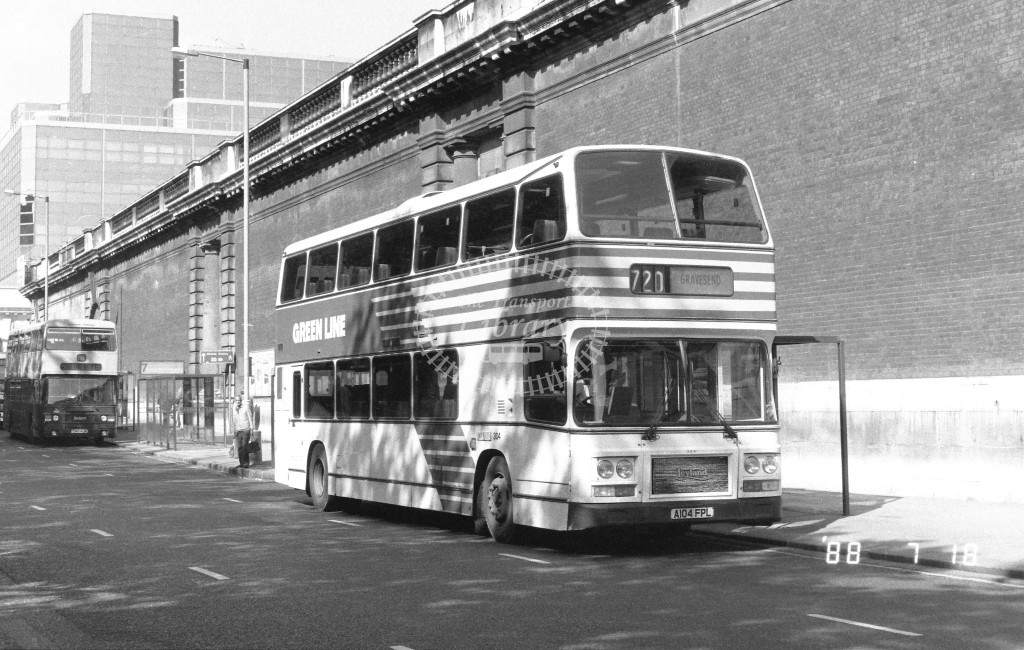 Kentish Bus Leyland Olympian LRC4 A104FPL  at Victoria , Buck. Pal, Rd,  in 1988 on route  720  - Russell Fell