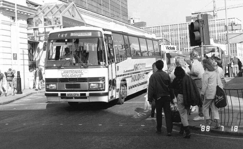 Kentish Bus Leyland Tiger TPL56 A156EPA  at Victoria , Ecclestone Bridge  in 1988 on route  720  - Russell Fell