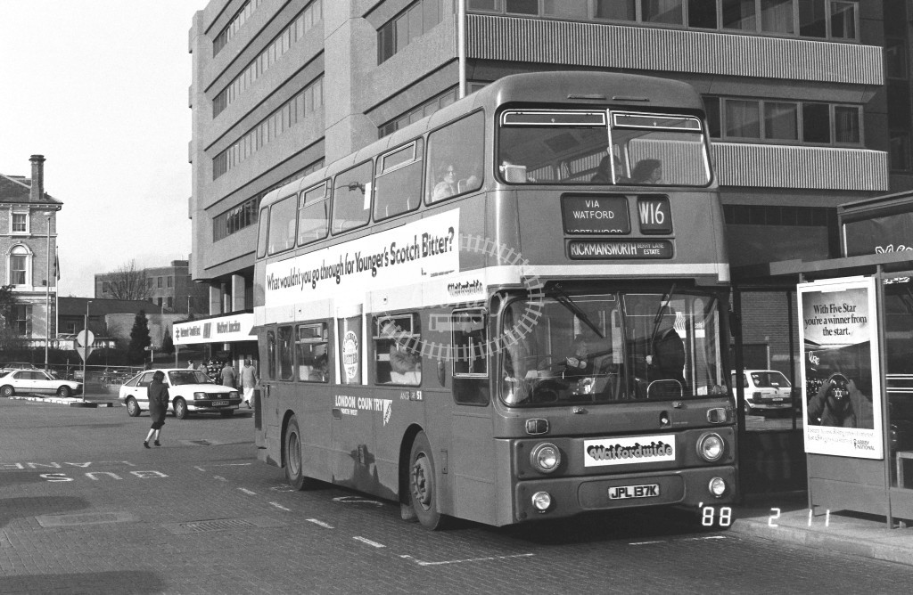 London Country North West Leyland Atlantean AN37 JPL137K  at Watford  , Junction Station  in 1988 on route  W16  - Russell Fell