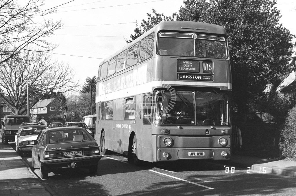 London Country North West Leyland Atlantean AN19 JPL119K  at Croxley  in 1988 on route  W16  - Russell Fell