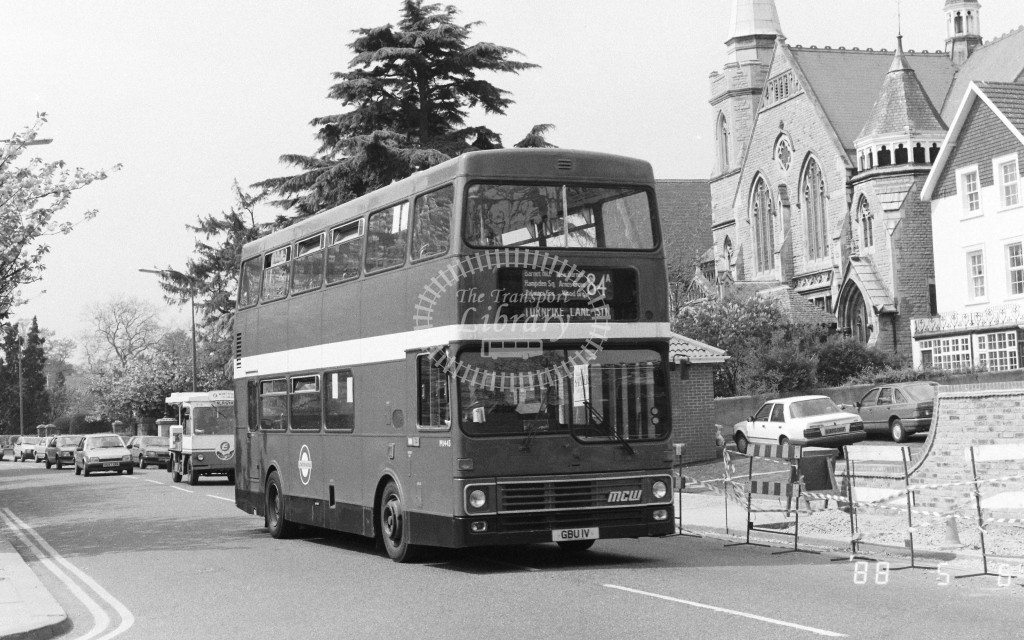 London Buses MCW Metrobus M1443 GBU1V  at Barnet , Wood Street  in 1988 on route  84A  - Russell Fell