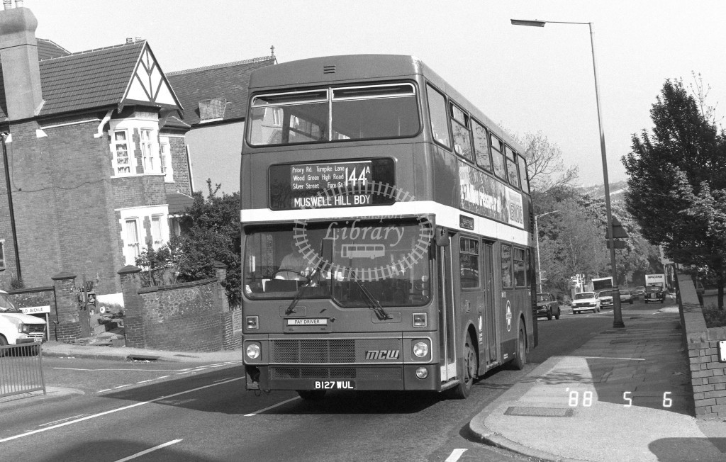 London Buses MCW Metrobus M1127 B127WUL  at Muswell Hill , Muswell Hill  in 1988 on route  144A  - Russell Fell