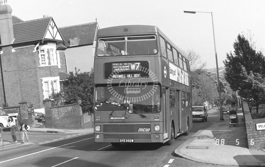 London Buses MCW Metrobus M552 GYE552W  at Muswell Hill , Muswell Hill  in 1988 on route  W7  - Russell Fell