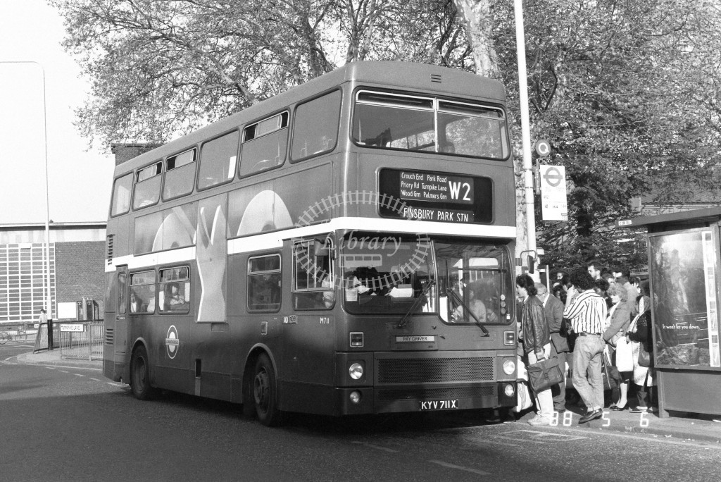 London Buses MCW Metrobus M711 KYV711X  at Turnpike Lane , LT Station  in 1988 on route  W2  - Russell Fell
