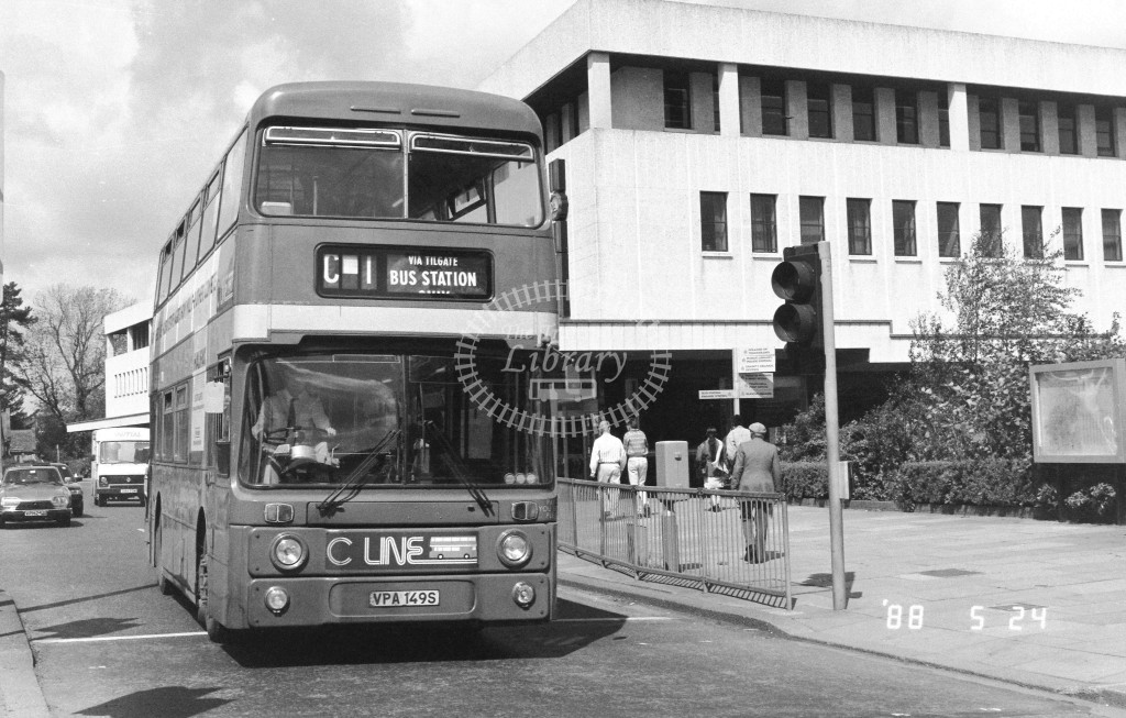 London Country South West Leyland Atlantean AN149 VPA149S  at Crawley , Bus Station  in 1987 on route  C1  - Russell Fell