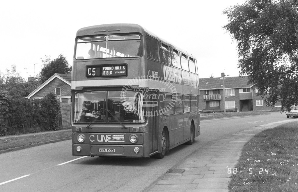 London Country South West Leyland Atlantean AN153 VPA153S  at Crawley  in 1987 on route  C5  - Russell Fell