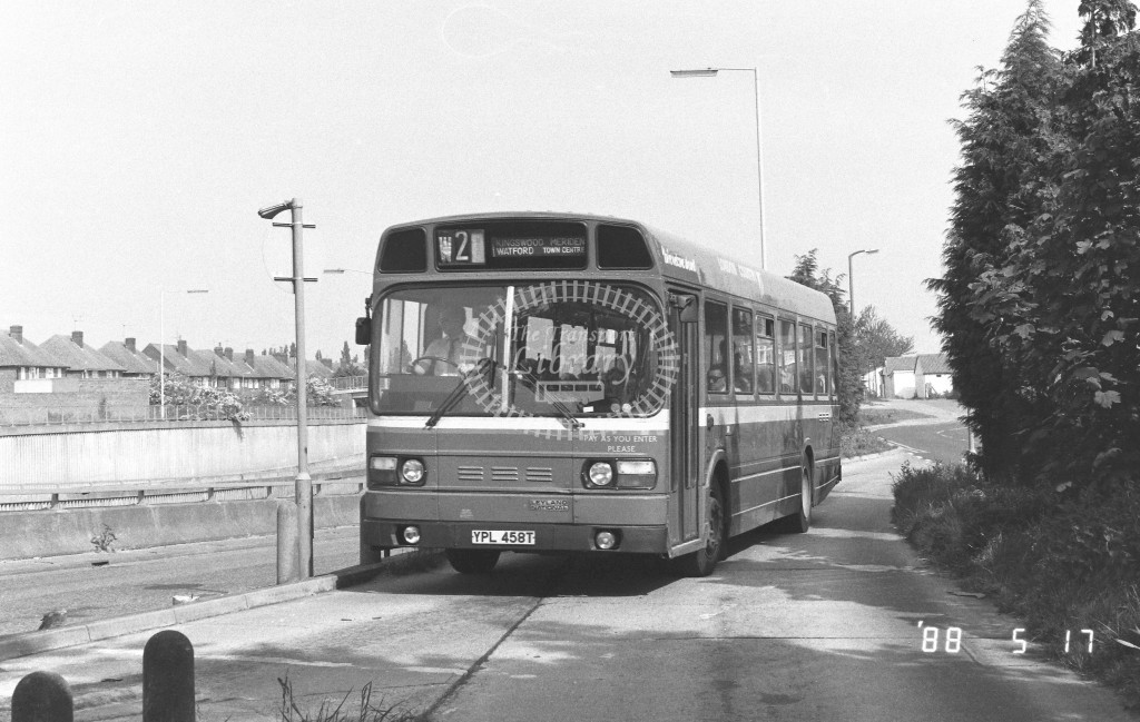 London Country North West Leyland National SNB458 YPL458T  at Watford   in 1988 on route  W2  - Russell Fell