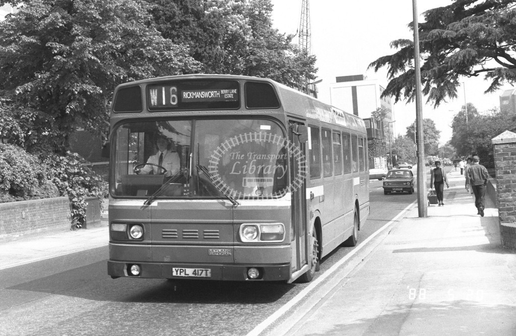 London Country North West Leyland National SNB417 YPL417T  at Watford  , Clarendon Rd  in 1988 on route  W16  - Russell Fell