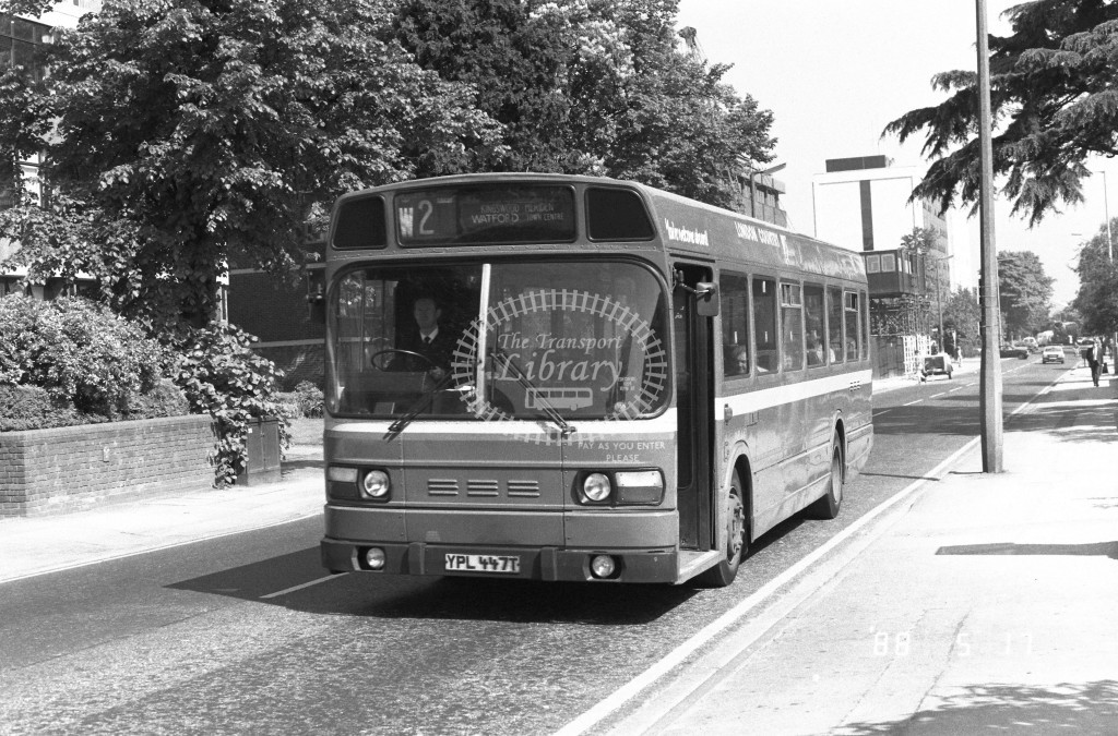 London Country North West Leyland National SNB447 YPL447T  at Watford  , Clarendon Rd  in 1988 on route  W2  - Russell Fell