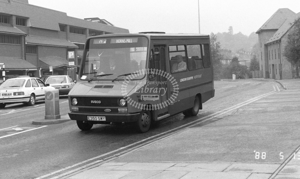 London Country North East Iveco MB50 E350SWY  at Hertford , Bus Station  in 1988 on route  H2  - Russell Fell