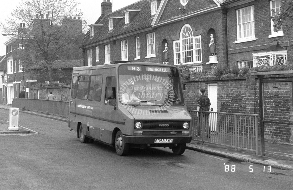 London Country North East Iveco MB52 E352SWY  at Hertford , Ware Road  in 1988 on route  H3  - Russell Fell