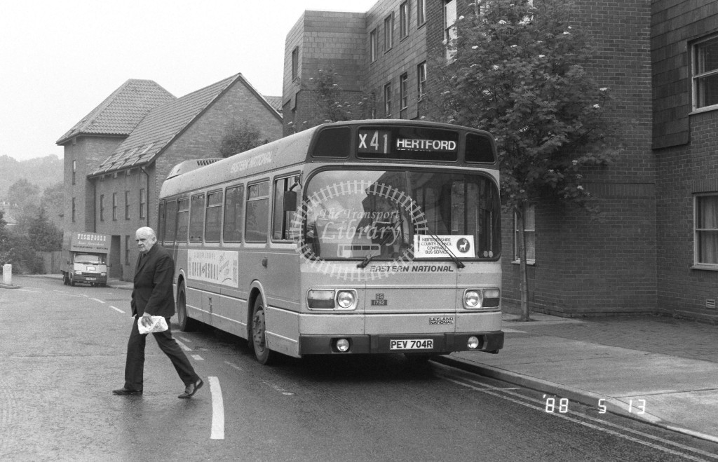 Eastern National Leyland National 1732 PEV704R  at Hertford , Bus Station  in 1988 on route  X41  - Russell Fell