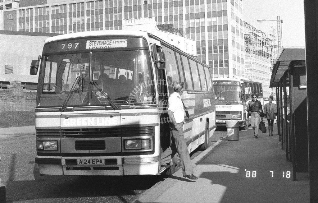 London Country North East Leyland Tiger TP24 A124EPA  at Victoria , Ecclestone Bridge  in 1988 on route  797  - Russell Fell