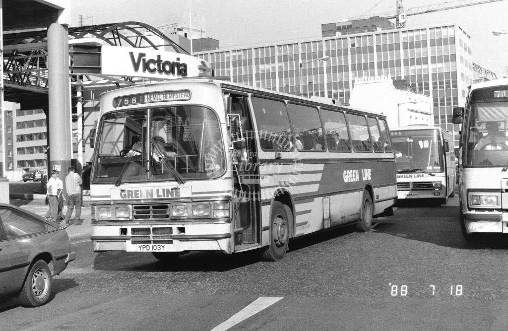 London Country North West Leyland Tiger TD3 YPD103Y  at Victoria , Ecclestone Bridge  in 1988 on route  758  - Russell Fell