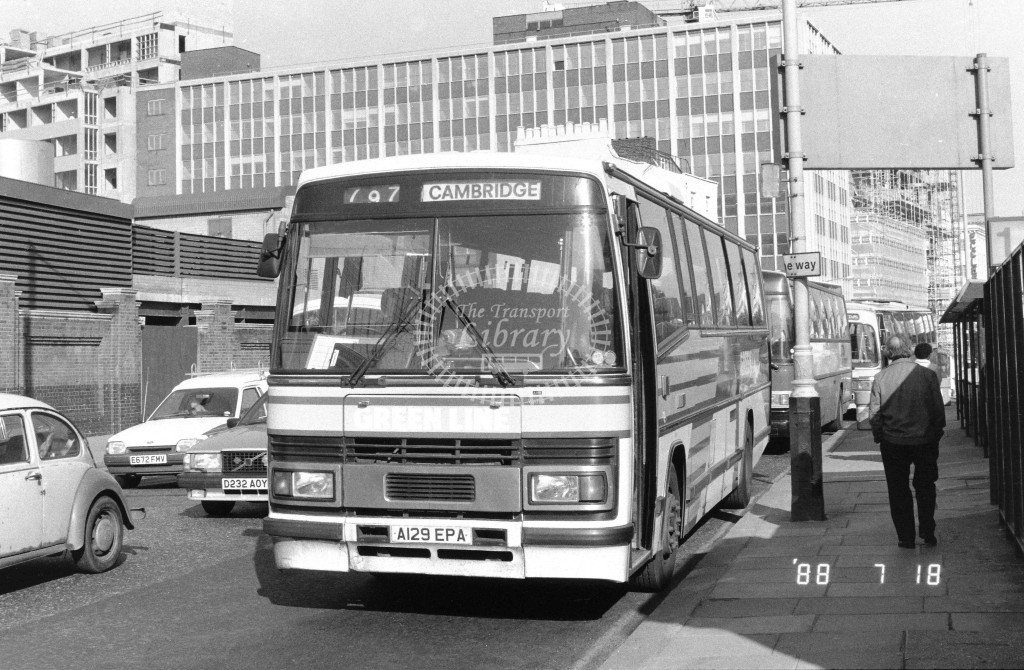 London Country North East Leyland Tiger TP29 A129EPA  at Victoria , Ecclestone Bridge  in 1988 on route  797  - Russell Fell