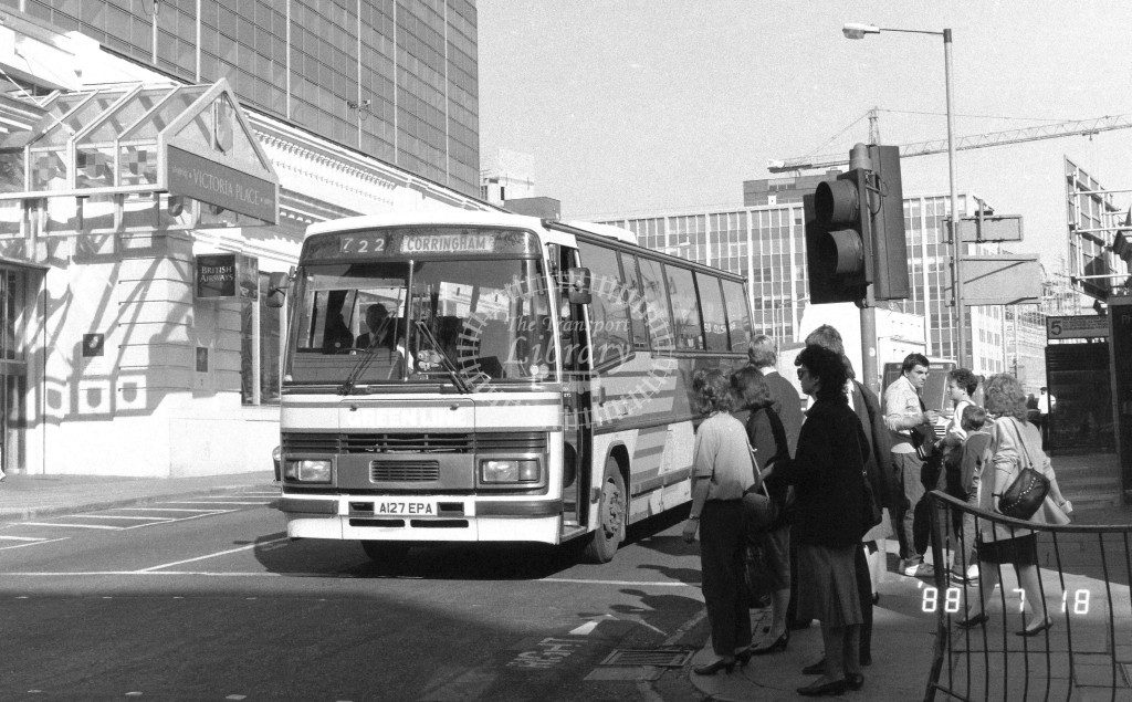London Country North East Leyland Tiger TP27 A127EPA  at Victoria , Ecclestone Bridge  in 1988 on route  722  - Russell Fell