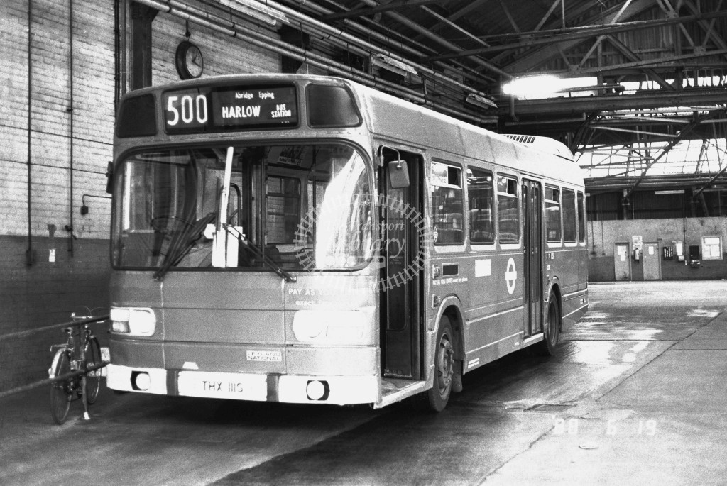 London Buses Leyland National LS111 THX111S  at Leyton , LT Garage  in 1988 on route  500  - Russell Fell
