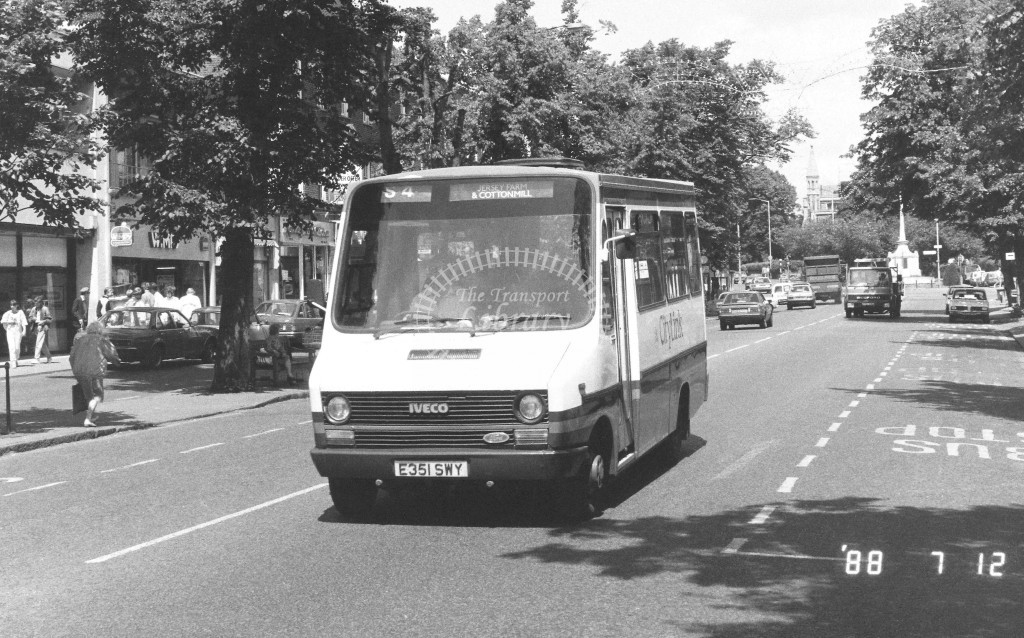 London Country North East Iveco MB51 E351SWY  at St Albans , St Peter's St.  in 1988 on route  S4  - Russell Fell
