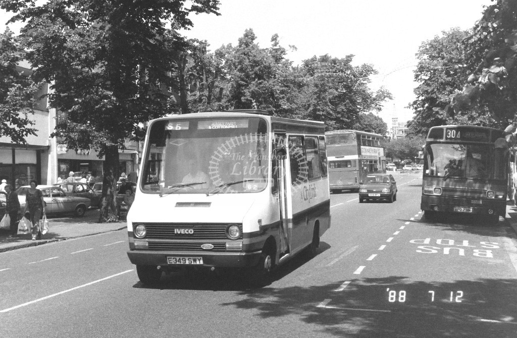 London Country North East Iveco MB49 E349SWY  at St Albans , St Peter's St.  in 1988 on route  S5  - Russell Fell