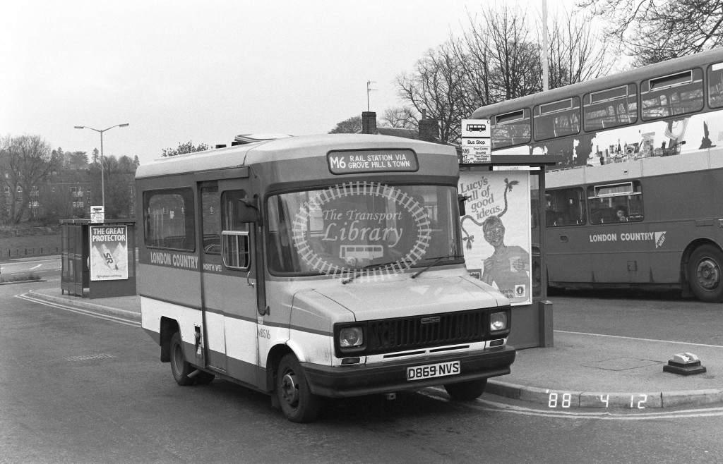 London Country North West Freight Rover Sherpa MBS16 D869NVS  at Hemel Hempstead , Station  in 1988 on route  M6  - Russell Fell