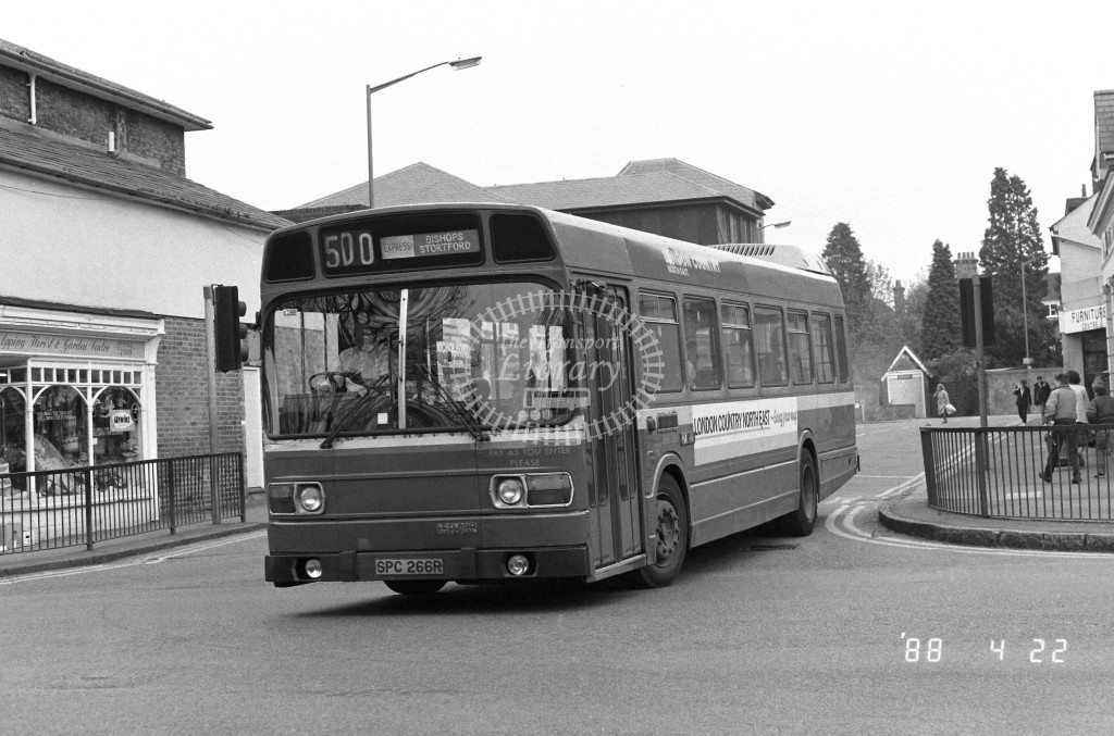 London Country North East Leyland National SNB266 SPC266R  at Epping , High Street  in 1988 on route  500  - Russell Fell