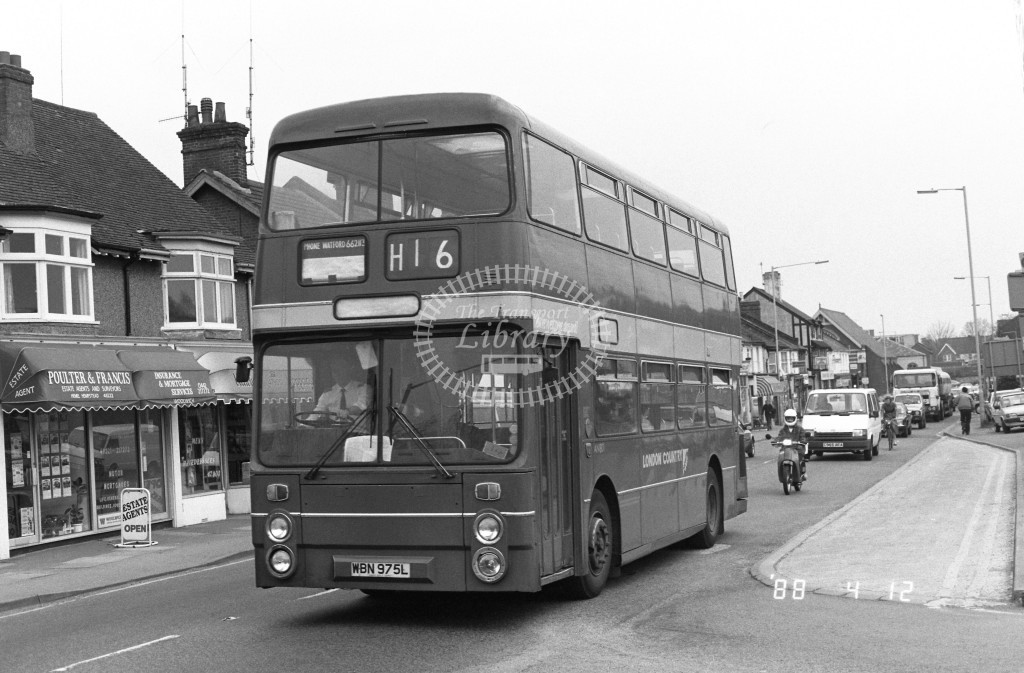 London Country North West Leyland Atlantean AN801 WBN975L  at Hemel Hempstead , London Road  in 1988 on route  H16  - Russell Fell
