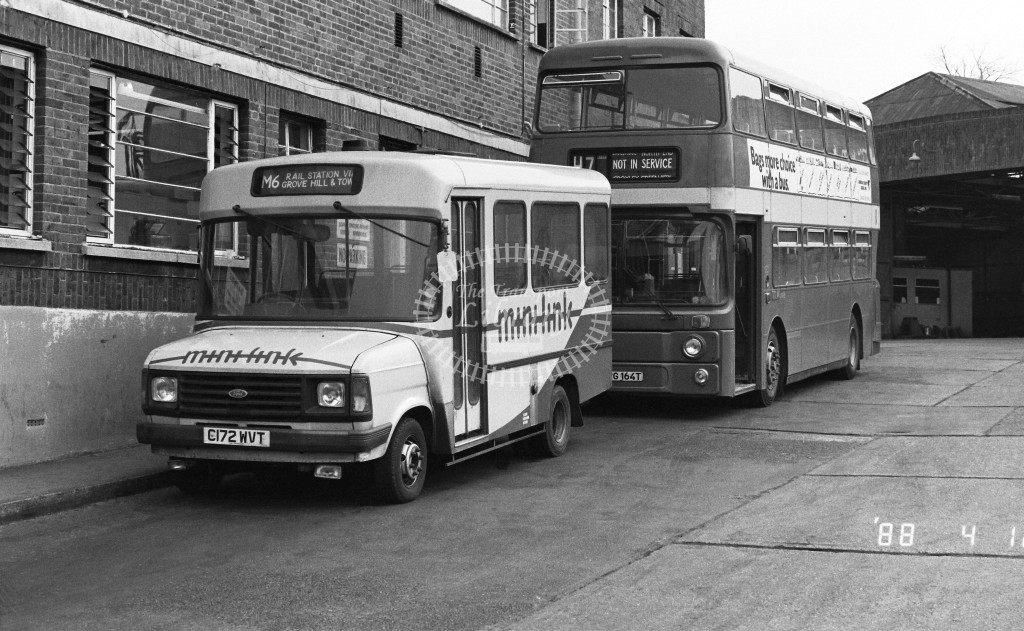 London Country North West Ford Transit C172WVT  at Hemel Hempstead , LCBS Gararge  in 1988 on route  M6  - Russell Fell