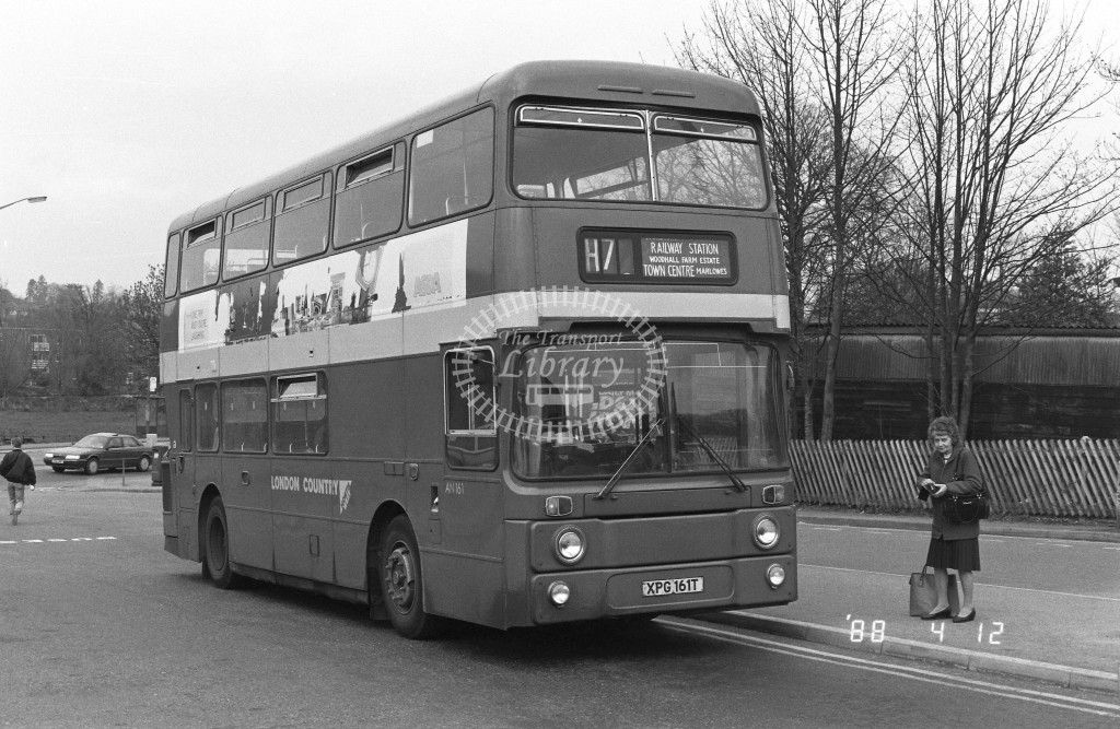 London Country North West Leyland Atlantean AN161 XPG161T  at Hemel Hempstead , Station  in 1988 on route  H7  - Russell Fell