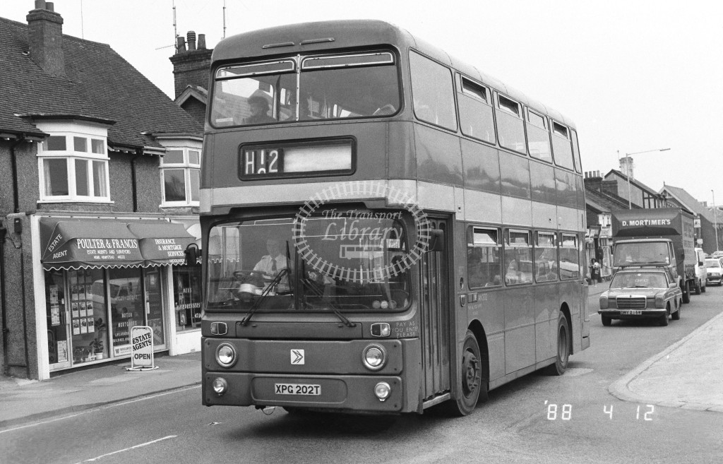 London Country North West Leyland Atlantean AN202 XPG202T  at Hemel Hempstead , London Road  in 1988 on route  H12  - Russell Fell