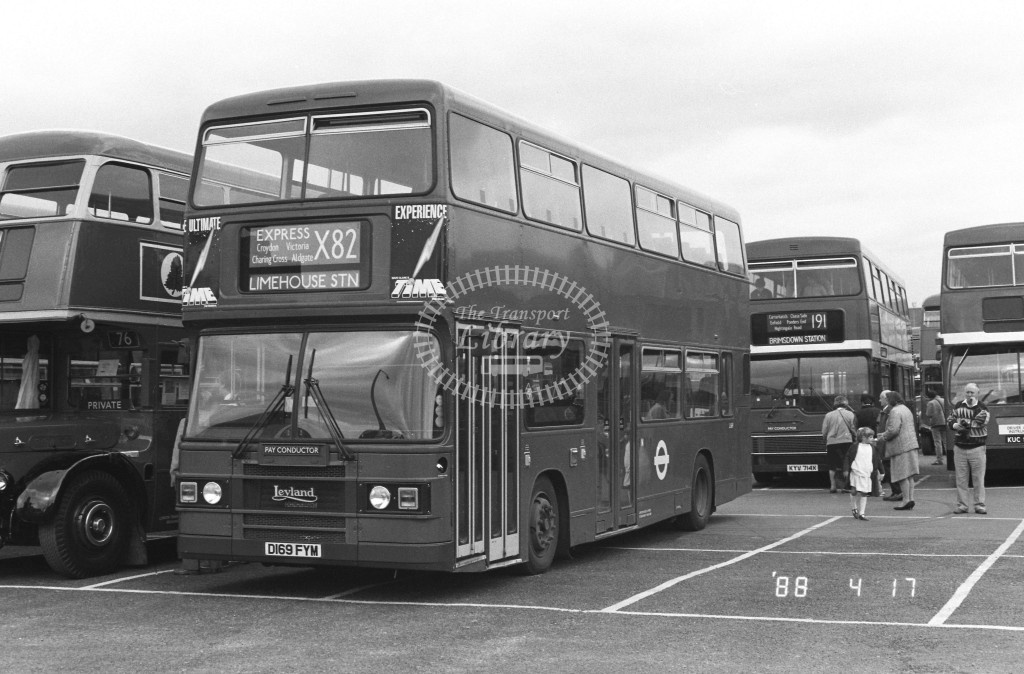London Buses Leyland Olympian L169 D169FYM  at Addlestone , Car Park  in 1988 on route  X82  - Russell Fell