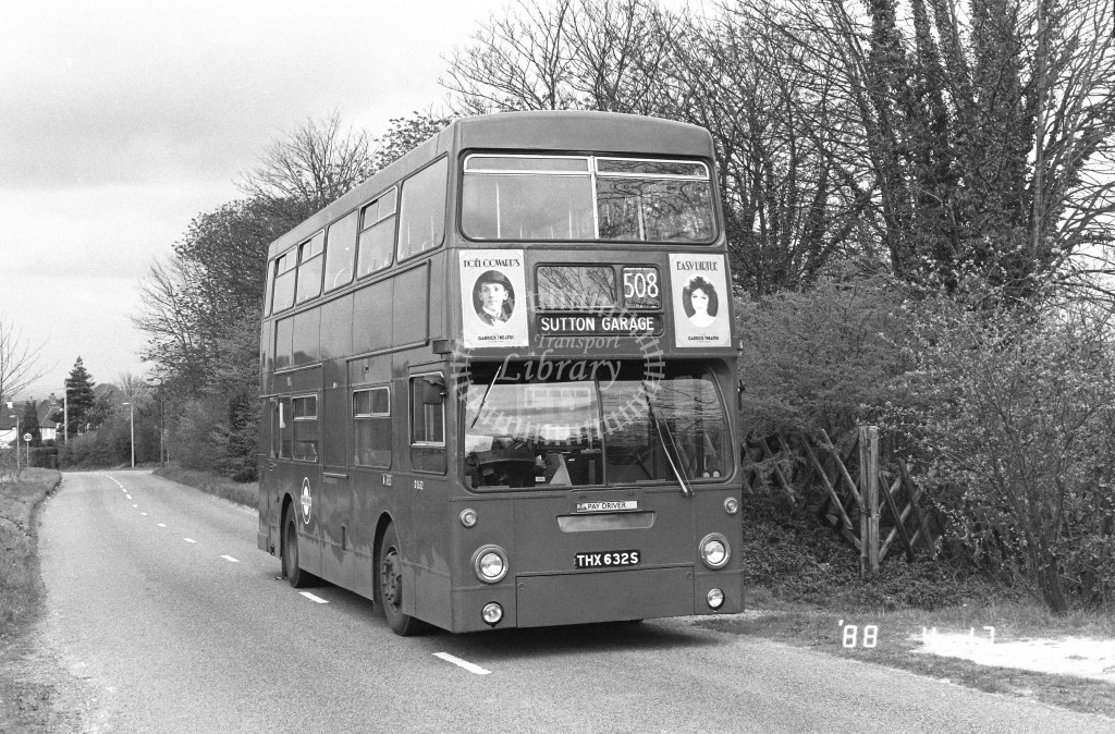 London Buses Daimler Fleetline DMS2632 THX632S  at Unknown Location  in 1988 on route  508  - Russell Fell