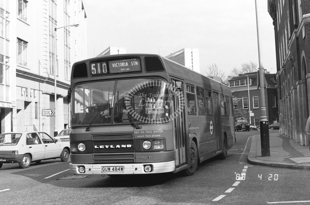 London Buses Leyland National LS484 GUW484W  at Victoria , Horseferry Rd  in 1988 on route  510  - Russell Fell