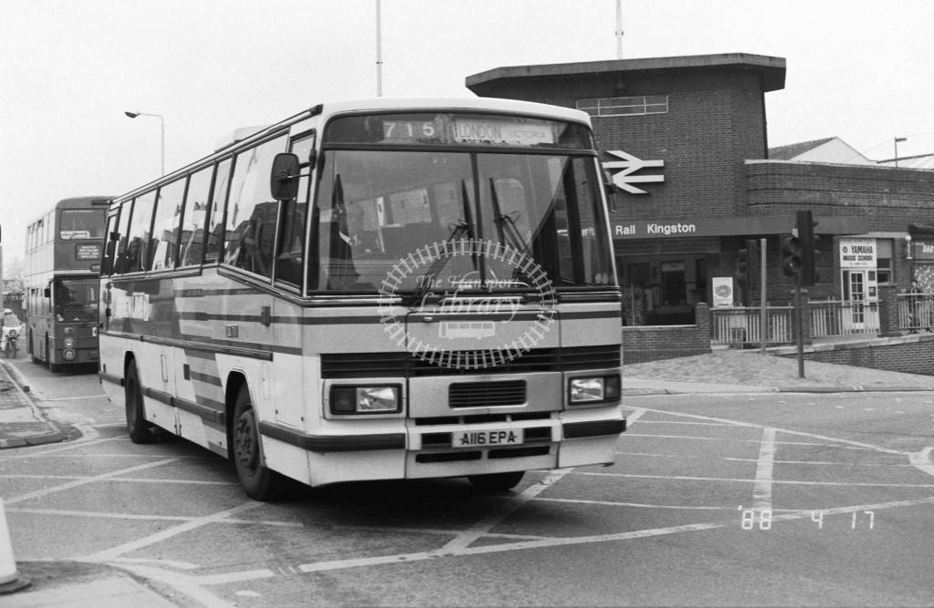 London Country South West Leyland Tiger TP16 A116EPA  at Kingston , Station  in 1987 on route  715  - Russell Fell