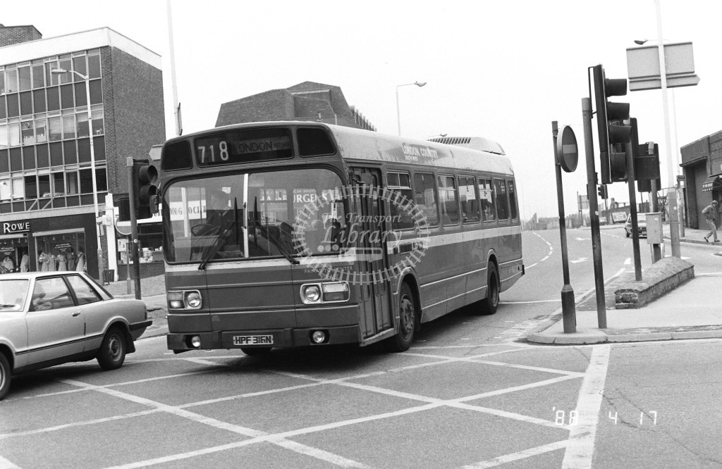London Country South West Leyland National SNB166 HPF316N  at Kingston , Station  in 1987 on route  718  - Russell Fell